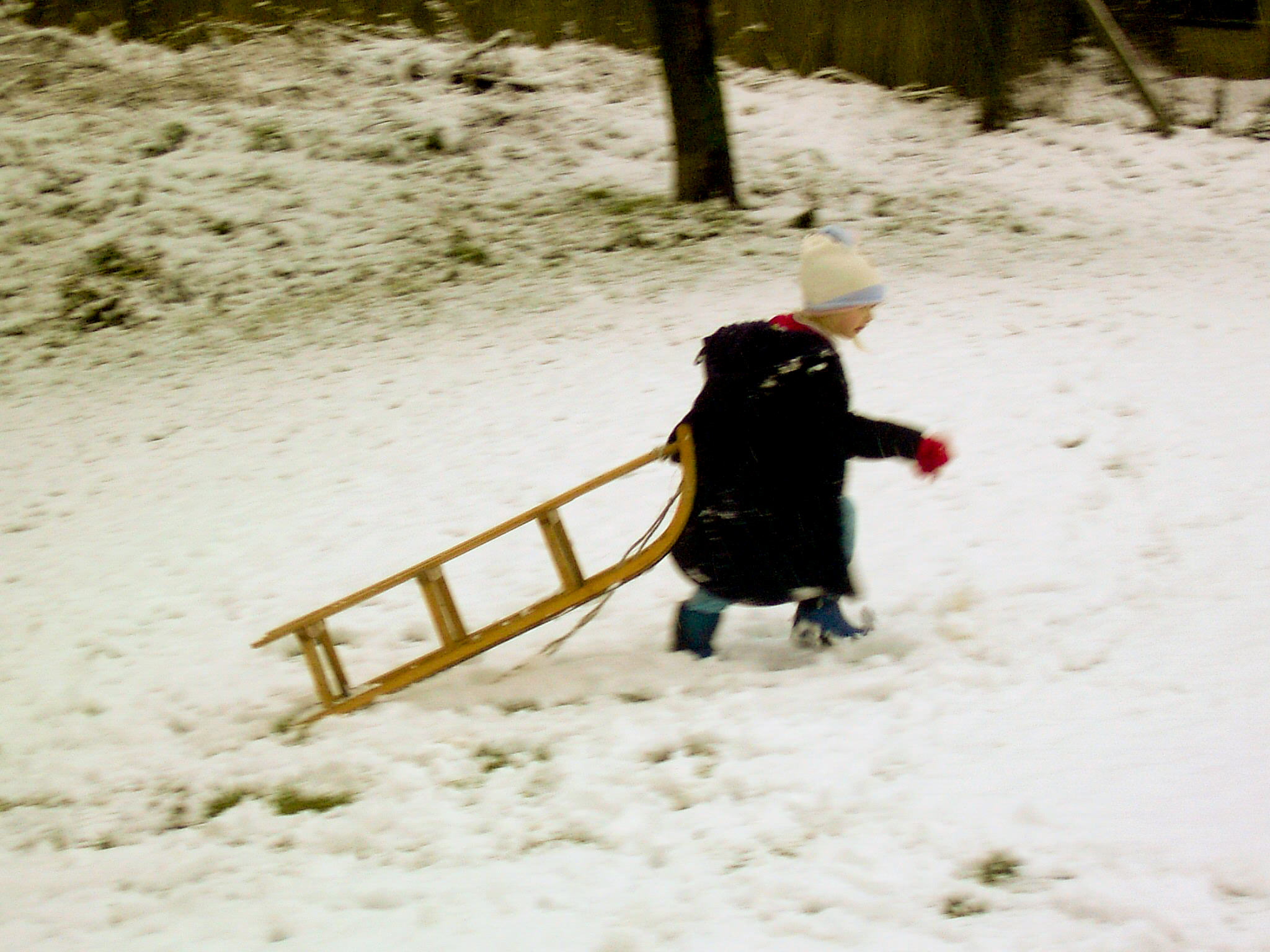 dragging the sledge back up the dip