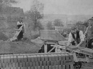 victorian country brickmakers constructing a clamp kiln