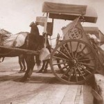 sepia pic of cart tipping
