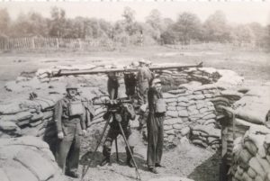 WW2 soldiers and sandbag wall