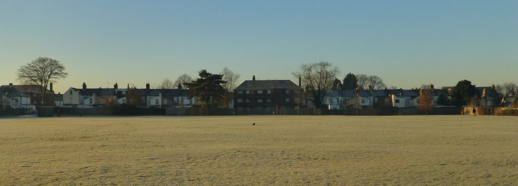 frosty park and terrace of houses with block of flats in the middle