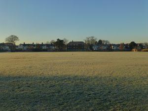 frosty field n terraced houses