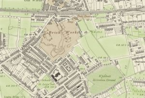tinted old map with older terraces of houses
