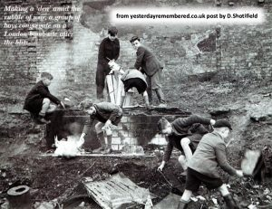 black and white pic of boys in ruin