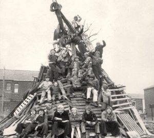 huge pile of pallets and wood bonfire